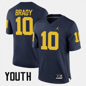 #10 Kids Alumni Football Game Tom Brady Michigan Jersey Navy