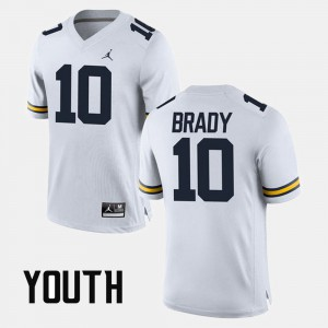 Alumni Football Game Tom Brady Michigan Jersey White #10 Youth