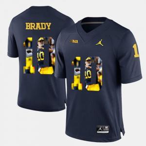 #10 Mens Navy Blue Tom Brady Michigan Jersey Player Pictorial
