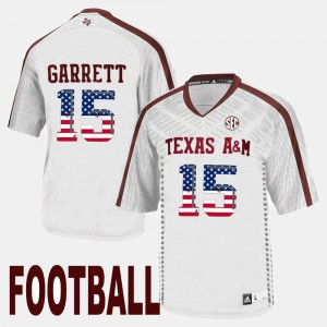 White For Men's #15 Myles Garrett Texas A&M Jersey US Flag Fashion