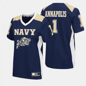 Navy Womens #1 College Football Navy Jersey