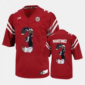 Player Pictorial Red For Men Taylor Martinez Nebraska Jersey #3