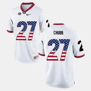 Mens Nick Chubb UGA Jersey White US Flag Fashion #27