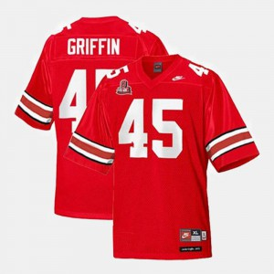 #45 College Football Red For Kids Archie Griffin OSU Jersey