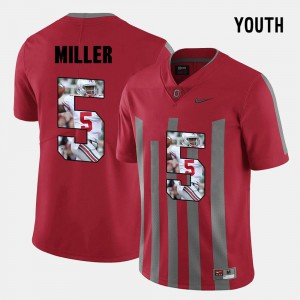Red #5 Pictorial Fashion Braxton Miller OSU Jersey Youth(Kids)
