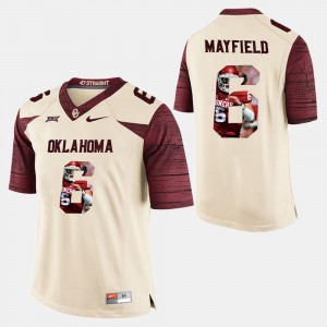 For Men White Baker Mayfield OU Jersey Player Pictorial #6