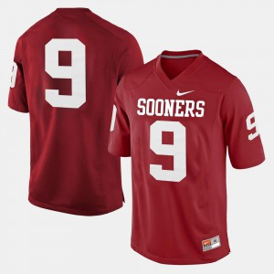 #9 Men's College Football OU Jersey Crimson