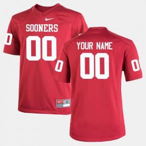 #00 OU Custom Jersey Youth Crimson College Football