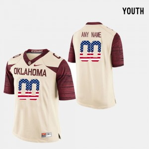 OU Customized Jerseys #00 Crimson US Flag Fashion For Kids