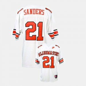 #21 White College Football Barry Sanders Oklahoma State Jersey For Men's