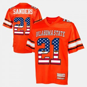 #21 Throwback Barry Sanders Oklahoma State Jersey For Men's Orange
