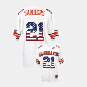 #21 Barry Sanders Oklahoma State Jersey White Mens Throwback