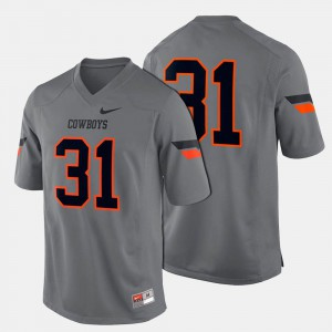 College Football Gray Mens #31 Oklahoma State Jersey