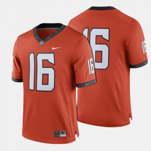For Men College Football #16 Orange Oklahoma State Jersey