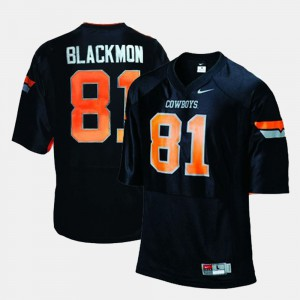 Black Men College Football Justin Blackmon Oklahoma State Jersey #81