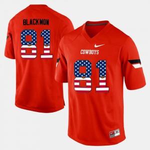 Mens US Flag Fashion #81 Orange Justin Blackmon Oklahoma State Jersey