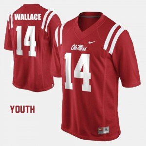 Red Bo Wallace Ole Miss Jersey #14 College Football Youth(Kids)