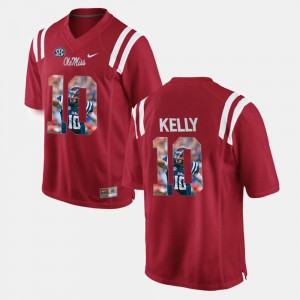 #10 For Men's Red Chad Kelly Ole Miss Jersey Player Pictorial