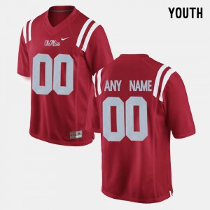 Red #00 Youth Ole Miss Customized Jerseys College Limited Football