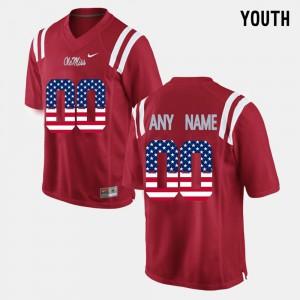 Red Kids #00 US Flag Fashion Ole Miss Customized Jerseys