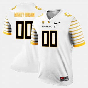 Men's Oregon Customized Jersey White College Limited Football #00