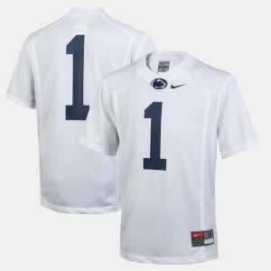 White #1 College Football For Kids Penn State Jersey