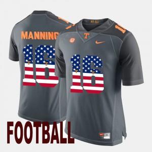 #16 Mens US Flag Fashion Peyton Manning UT Jersey Gray