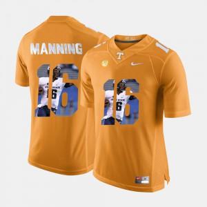 Peyton Manning UT Jersey #16 Orange For Men Pictorial Fashion