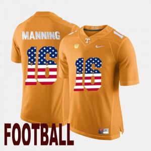 Men's US Flag Fashion #16 Peyton Manning UT Jersey Orange