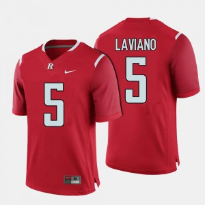 Men's Red College Football #5 Chris Laviano Rutgers Jersey