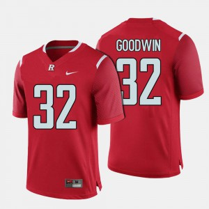 #32 College Football Red Justin Goodwin Rutgers Jersey Men's
