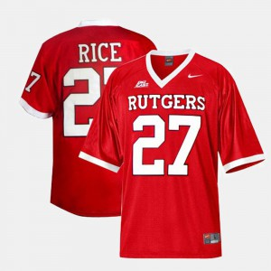 Red #27 College Football Ray Rice Rutgers Jersey Men