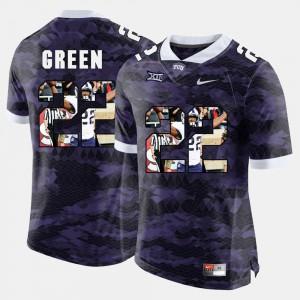 Aaron Green TCU Jersey Men High-School Pride Pictorial Limited Purple #22