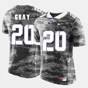 For Men #20 College Football Deante Gray TCU Jersey Grey