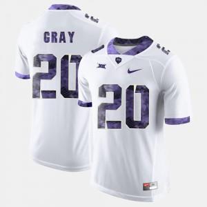 #20 College Football Deante Gray TCU Jersey White Men's