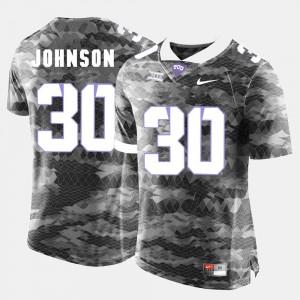 Denzel Johnson TCU Jersey Grey #30 College Football Mens