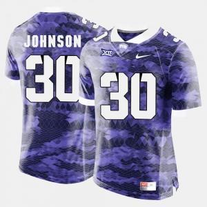 Denzel Johnson TCU Jersey Mens #30 Purple College Football