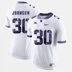 College Football #30 Men White Denzel Johnson TCU Jersey