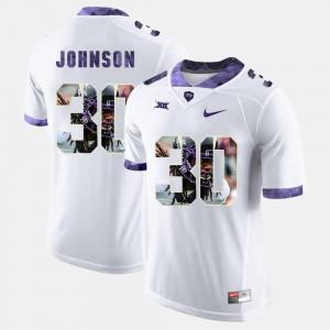 #30 White For Men's Denzel Johnson TCU Jersey High-School Pride Pictorial Limited
