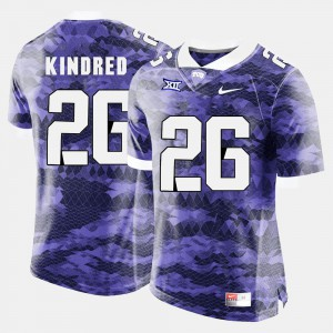 College Football #26 Derrick Kindred TCU Jersey Purple For Men
