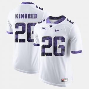 White #26 College Football For Men's Derrick Kindred TCU Jersey