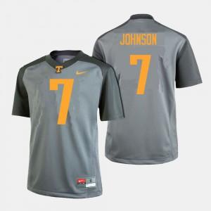 College Football #7 Brandon Johnson UT Jersey For Men's Gray