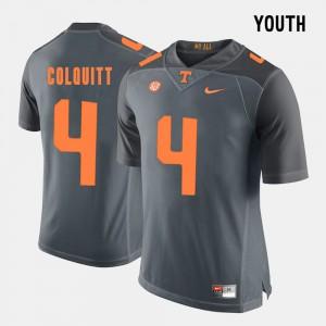 #4 Britton Colquitt UT Jersey Youth(Kids) Grey College Football