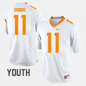 Youth White #11 Joshua Dobbs UT Jersey College Football