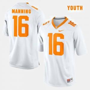 Youth White #16 College Football Peyton Manning UT Jersey