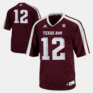 Burgundy Youth(Kids) College Football #12 Texas A&M Jersey