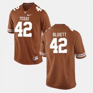Burnt Orange Caleb Bluiett Texas Jersey College Football #42 For Men's