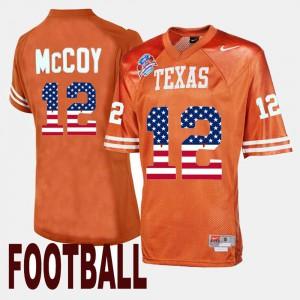 Orange #12 Colt McCoy Texas Jersey For Men's Throwback