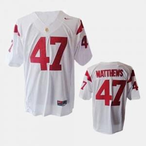 College Football Clay Matthews USC Jersey Youth(Kids) #47 White