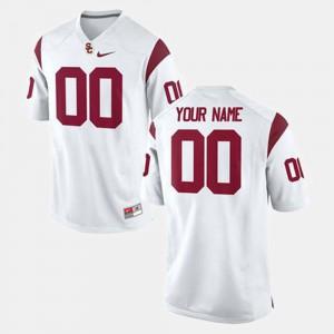 Mens White #00 USC Custom Jerseys College Football
